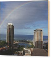 Rainbow Over Hilton Wood Print