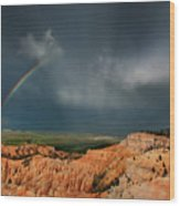 Rainbow Over Hoodoos Bryce Canyon National Park Utah Wood Print