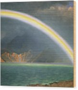 Rainbow Over Jenny Lake Wyoming Wood Print by Albert Bierstadt