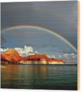 Rainbow Over Lake Powell Wood Print