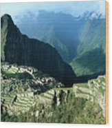 Rainbow Over Machu Picchu Wood Print