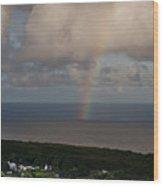 Rainbow Over Maui Wood Print