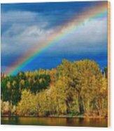 Rainbow Over Mill Pond Wood Print