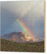 Rainbow Over Picketpost Wood Print