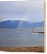 Rainbow Over Priest Lake Wood Print