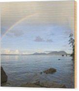 Rainbow Over Saturna Island Wood Print