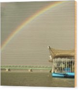 Rainbow Over The Danube In Tulln Austria Wood Print