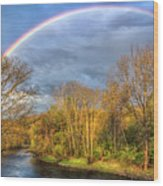 Rainbow Over The River Wood Print