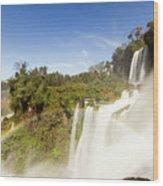 Rainbow Over The Waterfall Wood Print