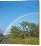 Rainbow Over Treetops Wood Print