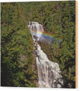 Rainbow Over Whitewater Falls Wood Print