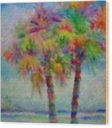 Rainbow Palm Scene Wood Print