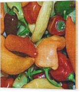 Rainbow Peppers Wood Print