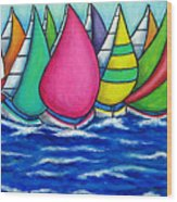 Rainbow Regatta Wood Print