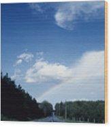 Rainbow Road Blue Sky Wood Print