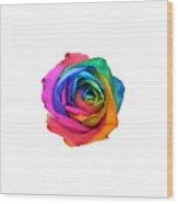 Rainbow Rose 01 Wood Print