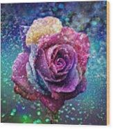 Rainbow Rose In The Rain Wood Print