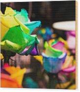 Rainbow Roses Wood Print