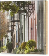 Rainbow Row Charleston Sc 2 Wood Print