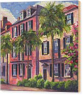 Rainbow Row Charleston Sc Wood Print
