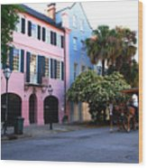 Rainbow Row Charleston Wood Print