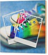 Rainbow Sneakers One Wood Print
