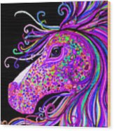 Rainbow Spotted Horse Head 2 Wood Print