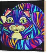 Rainbow Striped Cat 2 Wood Print