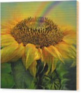 Rainbow Sunflower Wood Print