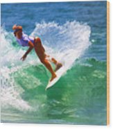 Rainbow Surf Day Wood Print
