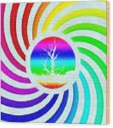 Rainbow Swirl Tree Wood Print