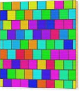 Rainbow Tiles Wood Print
