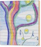 Rainbow Tree Revisited Wood Print