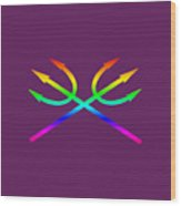 Rainbow Tridents Wood Print