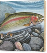 Rainbow Trout Stream Wood Print by JQ Licensing