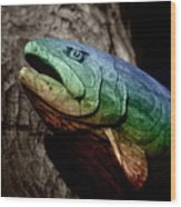 Rainbow Trout Wood Sculpture Wood Print