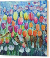 Rainbow Tulips Wood Print