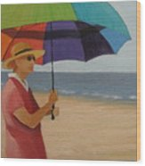Rainbow Umbrella Wood Print