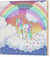 Rainbow Unicorn Clouds And Stars Wood Print