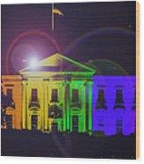 Rainbow White House Flare Wood Print