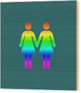 Rainbow Women Wood Print
