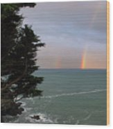 Rainbows Over The Ocean At The Mendocino Coast Wood Print