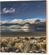 Rainfall Over The Salt Lake Wood Print