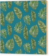 Rainforest Resort - Tropical Leaves Elephant's Ear Philodendron Banana Leaf Wood Print