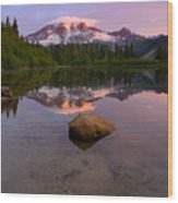 Rainier Dawn Breaking Wood Print