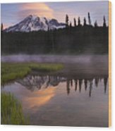 Rainier Lenticular Sunrise Wood Print