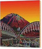 Rainier Over Qwest Field Wood Print