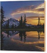 Rainier Sunrise Reflection #2 Wood Print