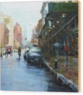 Rainy Afternoon On Amsterdam Avenue Wood Print by Peter Salwen