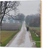 Rainy Amish Day Wood Print